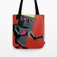 robot Tote Bags featuring Robot by Marco Recuero