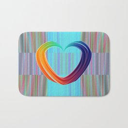 Fractal Art- Pattern Art- Heart Art- Blue Hearts-Pixxie Stixx- LGBT Art- Love- Healing Energy Art Bath Mat