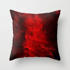 Red Abstract Paint Throw Pillow