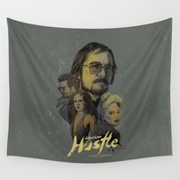 hustle Wall Tapestries featuring American Hustle by RJ Artworks