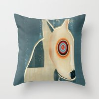 bull terrier Throw Pillows featuring bull terrier days by bri.buckley