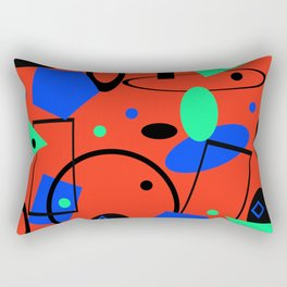 Retro abstract red print Rectangular Pillow