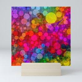 Rainbow Bubbles Abstract Design Mini Art Print