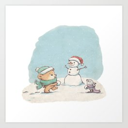 Brommel & Dee - Build a Christmas Snowman Art Print