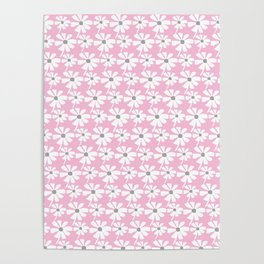 Daisies In The Summer Breeze - Pink Grey White Poster