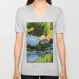 White Water Lilies Landscape Painting - Jeanpaul Ferro Unisex V-Neck