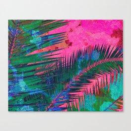Palm leaves for Frida - Bright pink, blue & green #buyart #decor Canvas Print