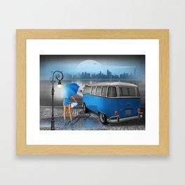 Blue rainy night Framed Art Print
