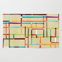 mondrian Area & Throw Rugs featuring The map (after Mondrian) by Picomodi