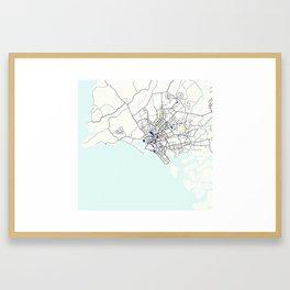 Minimalist Modern Map of Karachi, Pakistan 7 Framed Art Print