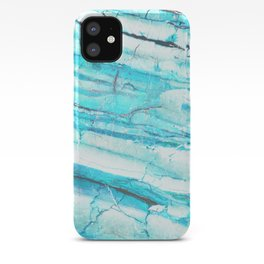 White Marble with Blue Green Veins iPhone Case