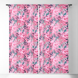 Pink Starfish and coral watercolor reef Blackout Curtain