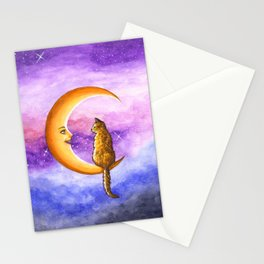 Cat on Moon 673 Stationery Cards