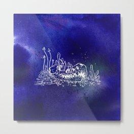 Dino skull – Blue Metal Print