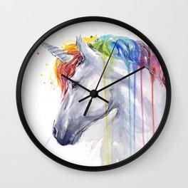Rainbow Unicorn Watercolor Wall Clock