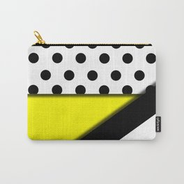 Black & White Polka Dots & Stripes With Yellow Carry-All Pouch