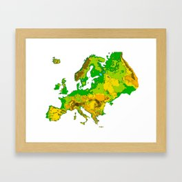 Topographical Relief Map of the Continent of Europe Framed Art Print