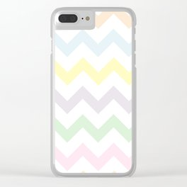Pastel Chevron on White Clear iPhone Case