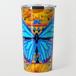 Golden Sunflowers Blue Butterfly black Art Travel Mug