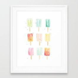 Watercolor Popsicles Framed Art Print
