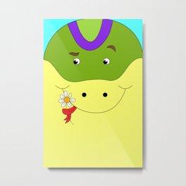 Cute snake in love children's illustration Metal Print