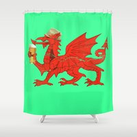 drunk Shower Curtains featuring Drunk Dragon by SimplyMrHill