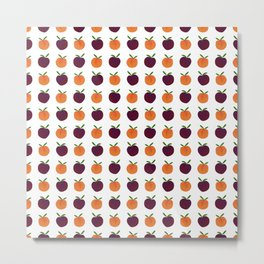 Mini Peachy Plummy Hand-Painted Orchard Fruits Metal Print