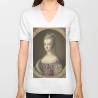 marie antoinette V-neck T-shirts featuring Marie Antoinette by Mary