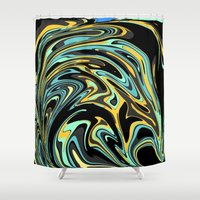 oil Shower Curtains featuring Oil Spill by Jessielee