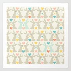Bunnies and Hearts Art Print