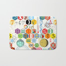Math in color (white Background) Bath Mat
