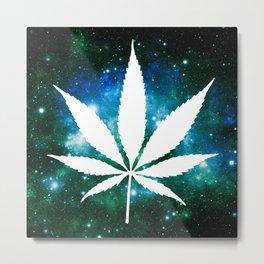 Weed : High Times Green Blue Galaxy Metal Print