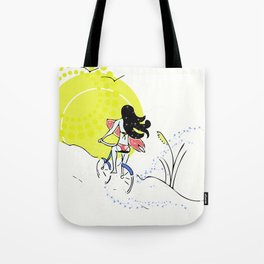 Sunny Morning Surf Check Tote Bag