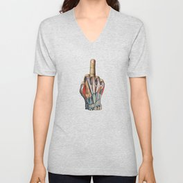 One Finger Salute Unisex V-Neck