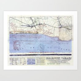 Vintage Map of The Omaha Beach Landings (1944) Art Print