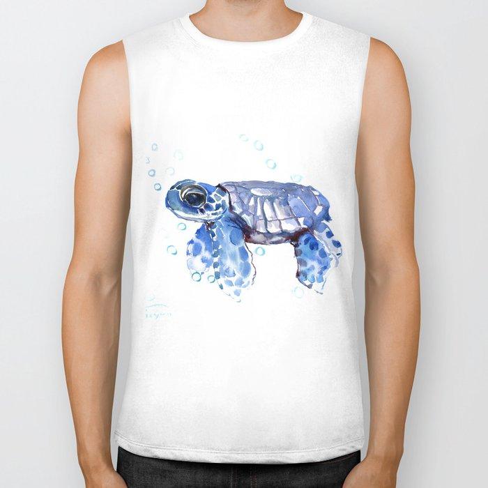 Baby Blue Turtle Biker Tank
