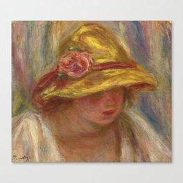 """Auguste Renoir """"Etude de femme au chapeau jaune"""" Canvas Print"""