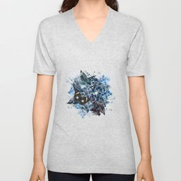 Beautiful bright pattern with hydrangea flowers and butterflies Unisex V-Neck