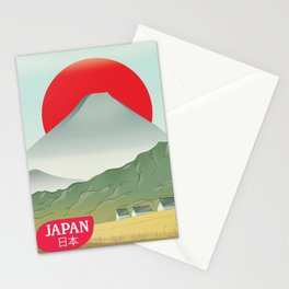 Japan mountain vintage style travel poster Stationery Cards
