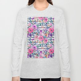 Pink mauve lilac hand painted watercolor roses floral stripes Long Sleeve T-shirt