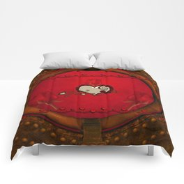 Beautiful elegant hearts with roses Comforters