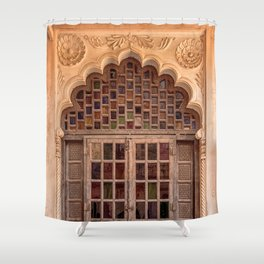 Wooden stained glass door at Jodhpur Fort, India Shower Curtain