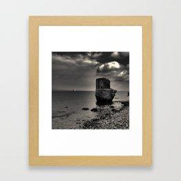 kap arkona sea ruins in magic light black and whitte Framed Art Print