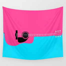 Pink Acoustic Guitar Background Wall Tapestry