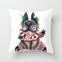 bucky Throw Pillows featuring Bucky by Maria Gabriela Arevalo Reggeti