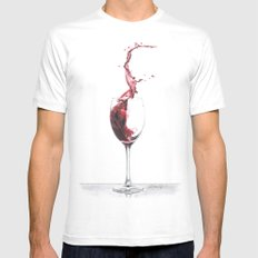 Red Wine White Mens Fitted Tee SMALL