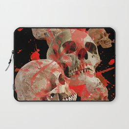 MACABRE BLOOD & SKULLS BLACK  ART Laptop Sleeve
