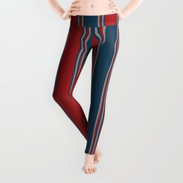 Stripes - Burgundy Red, Blue Grey - Compliment Daisy Chain Leggings