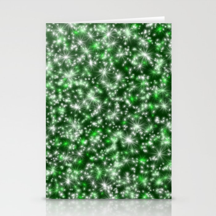 Green Christmas Lights Stationery Cards