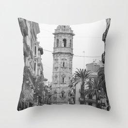 Black White Architecture in Valencia Throw Pillow
